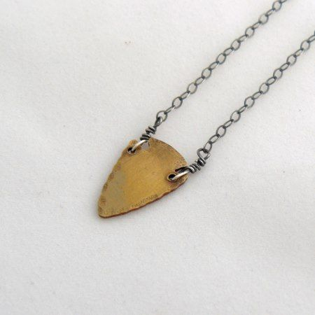 Brass Arrowhead Necklace w/Silver Box Chain - tap, personalize, buy right now!