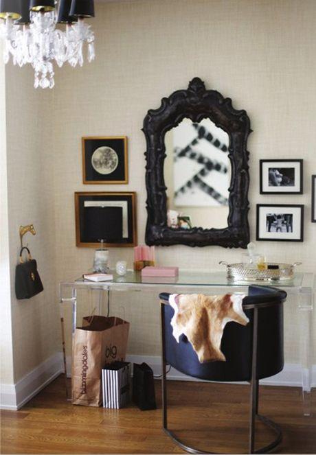 lucite desk/ vanityDesks Area, Mirrors, Vanities Area, Desks Chairs, Tables Design, Dresses Tables, Interiors, Work Spaces, Bedrooms