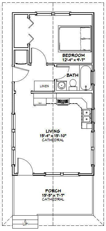 16x32 Tiny House -- 511 sq ft -- PDF Floor Plan -- Model 3C 2