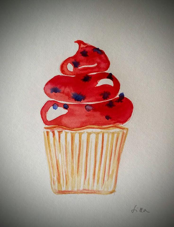cupcake watercolor