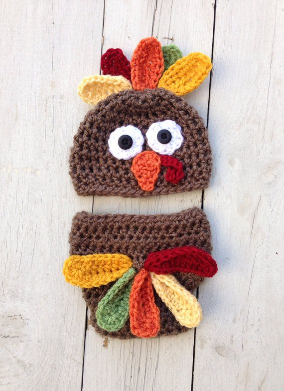 Handmade crochet turkey hat newborn turkey by LittleBirdBands