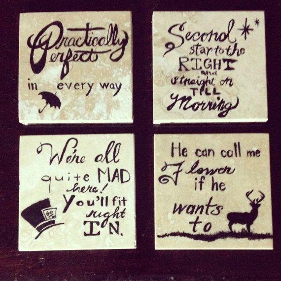 Handpainted Classic Disney Quote Coasters