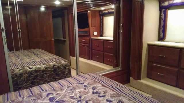 2008 Used Holiday Rambler Imperial 44BALI Class A in Illinois IL.Recreational Vehicle, rv, 2008 Holiday Rambler Imperial 44BALI, 44'10'' of pure comfort, new tires, new batteries, cherry hardwood cabinets and paneling, full size King bed, separate washer and dryer in hallway, full bathroom, storage bay slide-out pass through tray in the first bay, Aqua-hot heat, dual leveling air over hydraulic, remote controlled day and night shades (no curtains to mess with), electric day and night shades…