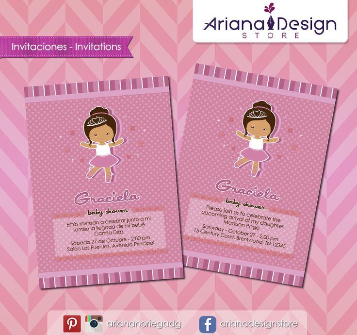 #printable #invitation #ballerina #bailarina #ballet #arianadesignstore #invitacion #fiestainfantil #babyshower