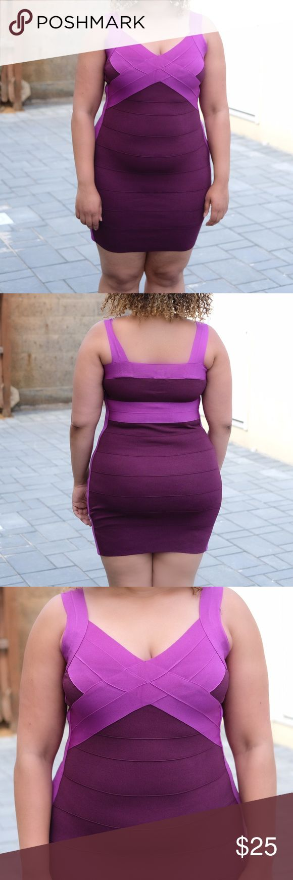 Express purple bandage dress Size L purple bandage dress from Express. 67% rayon, 31% nylon, 2% spandex. Worn once, no snags or damage, stretchy material Express Dresses