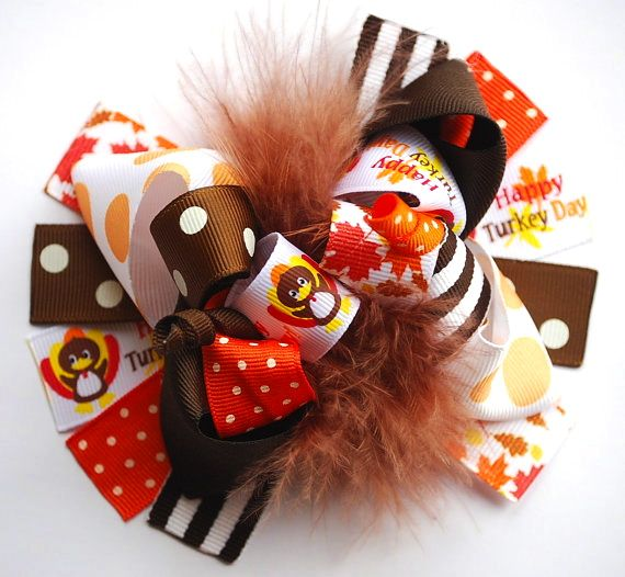 Happy Thanksgiving Over the Top Bow for Hair or Shoe