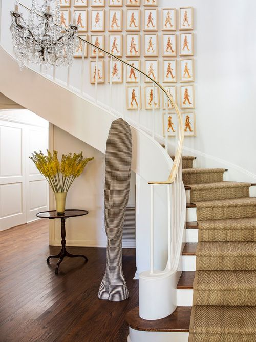 Large Transitional Wooden Curved Staircase Photo In Los Angeles. Seagrass Stair  Runner