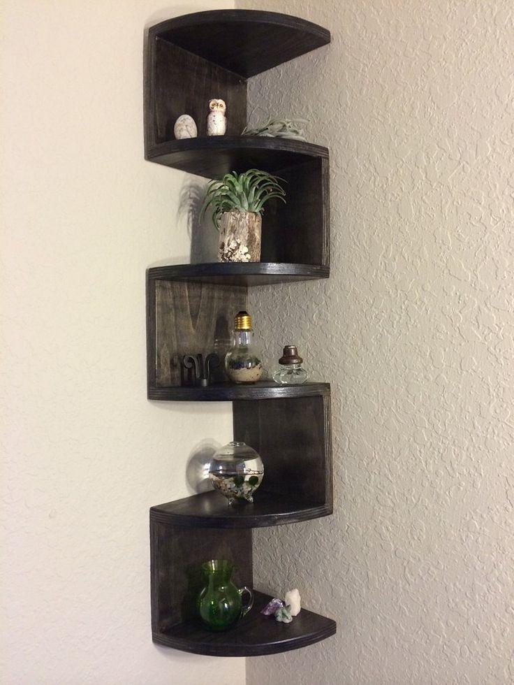 Handmade Zig Zag Rounded Front Corner Shelf | SplintersCustomWoodworking - Housewares on ArtFire