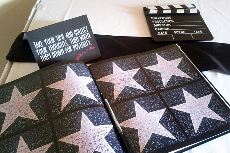 Walk of fame guestbook. A vintage Hollywood themed wedding. Have  your guests sign a star!