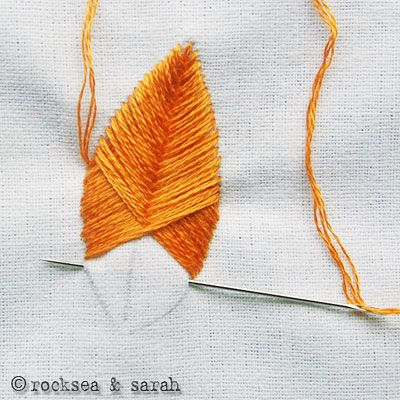 How-To: Make Feathers with Raised Fishbone Embroidery Stitch #sewing #embroidery #feathers