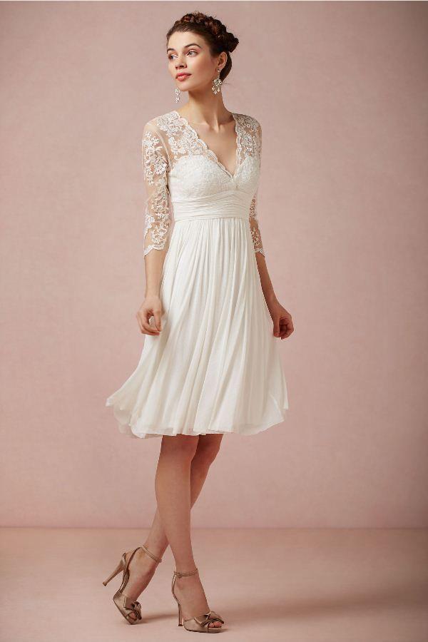 V-neckline, 3/4 sleeves #Short #Wedding #Dress ♡ For how to organise an entire wedding ... on a budget https://itunes.apple.com/us/app/the-gold-wedding-planner/id498112599?ls=1=8 ♥ THE GOLD WEDDING PLANNER iPhone App ♥  http://pinterest.com/groomsandbrides/boards/ for an abundance of wedding ideas ♡