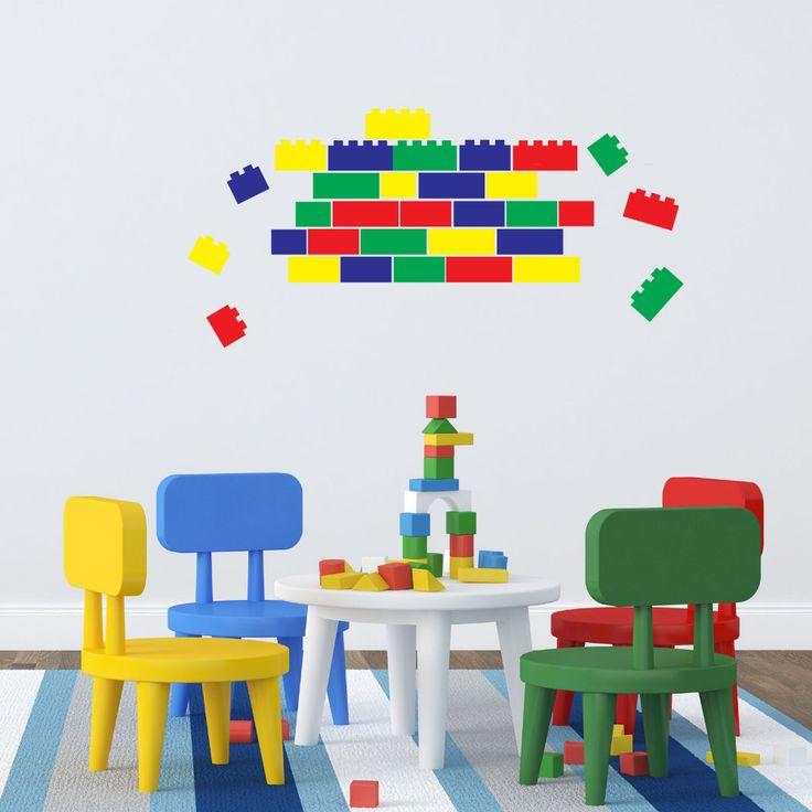Lego Bricks - 40 Blocks in 4 ColorsSet Vinyl Wall Sticker Funny Wall Decals For Children's Room Decoration