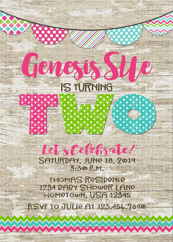 Editable Second Girl Birthday Invitation Banner 2nd