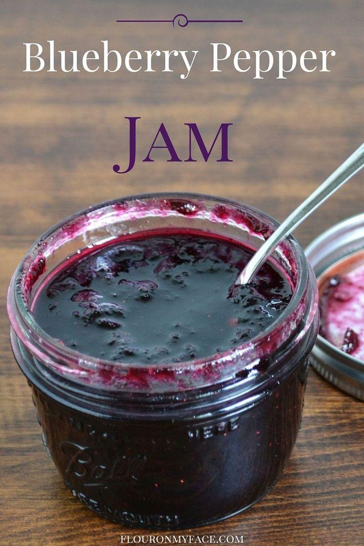 Blueberry Poblano Pepper Jam recipe via flouronmyface.com