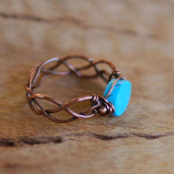 braided copper, turquoise  NeroliHandmade +
