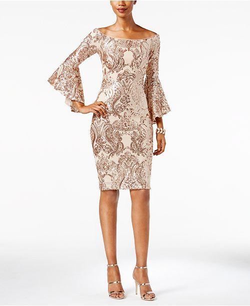 ea40f75ab18f Betsy & Adam Sequined Off-The-Shoulder Dress - Dresses - Women - Macy's