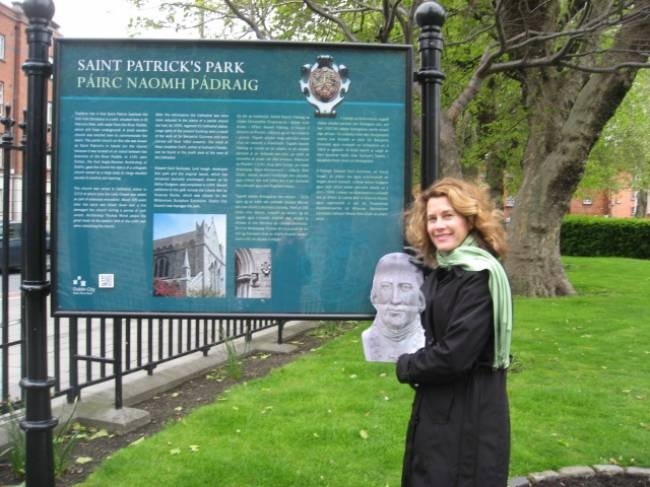 Nancy Veselica '78 and John Carroll at the entrance of the garden outside St. Patrick's Cathedral in Dublin, Ireland in May 2012.