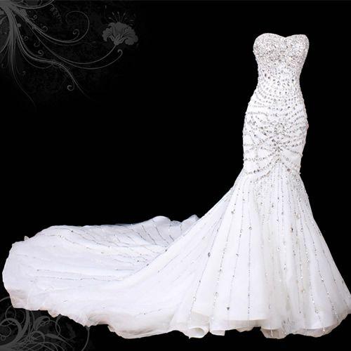 Sexy White Swarovski Crystal Mermaid Wedding Bridal Gown Dress Custom SKU-119001
