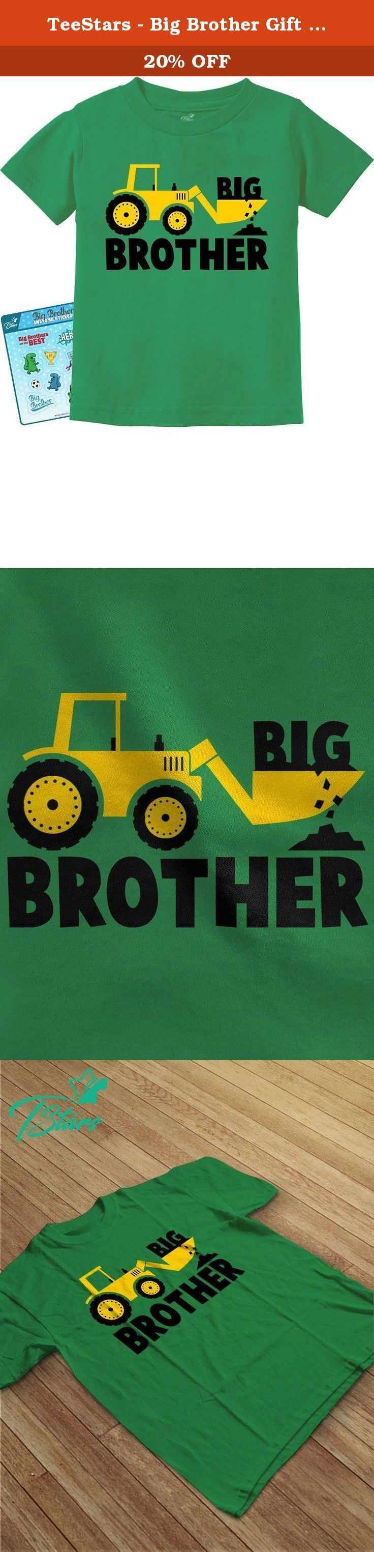 TeeStars - Big Brother Gift for Tractor Loving Boys Toddler/Infant Kids T-Shirt 2T Green. Great Big Brother gift idea! Perfect present for big brothers, Tractor Loving Boys. Pregnancy announcement / baby shower gifts. Cute little kids Tee. Premium quality, short sleeved t-shirt. preshrunk 100% combed-cotton knit, machine washable. Available in a wide variety of colors and sizes: Infant sizes: 6 - 24 Months / Toddler sizes: 2T-7T. Choose the size and color options from the drop-down list....