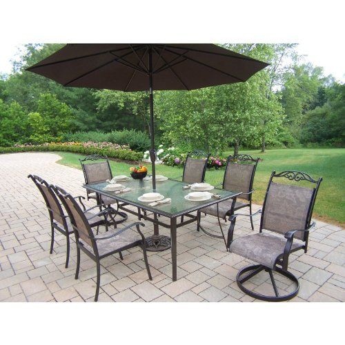 Oakland Living Cascade Patio Dining Set With Umbrella And Stand   Seats 6  Size   6