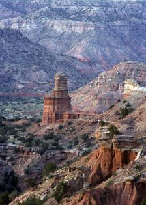 Palo Duro Canyon State Park, south of Amarillo in the Texas Panhandle with over 20,000 acres.