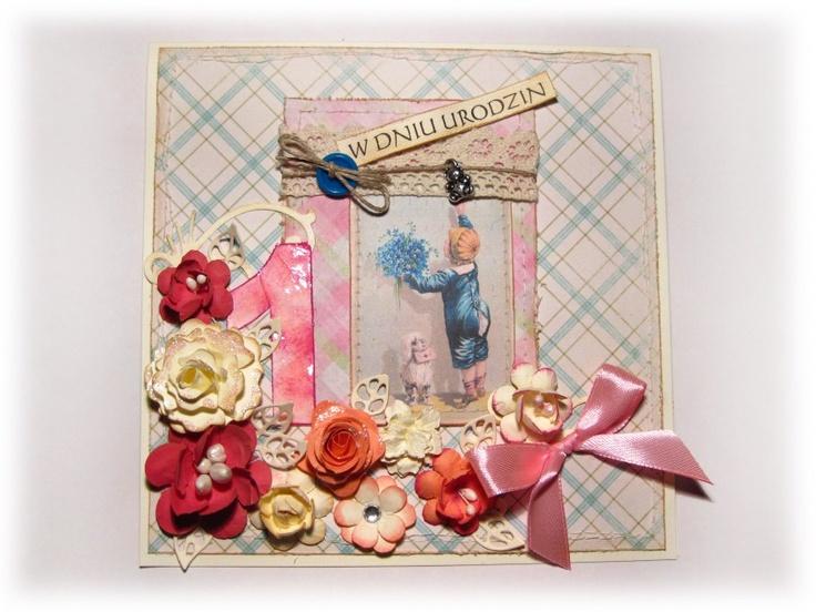 miesz-Anka wy-Tworów prze-Różnych: Kwiatowa karteczka na roczek...