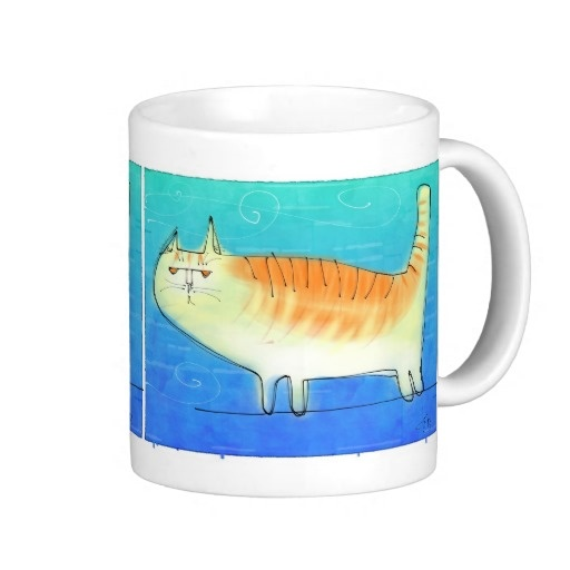 Cat on a wire coffee mugs