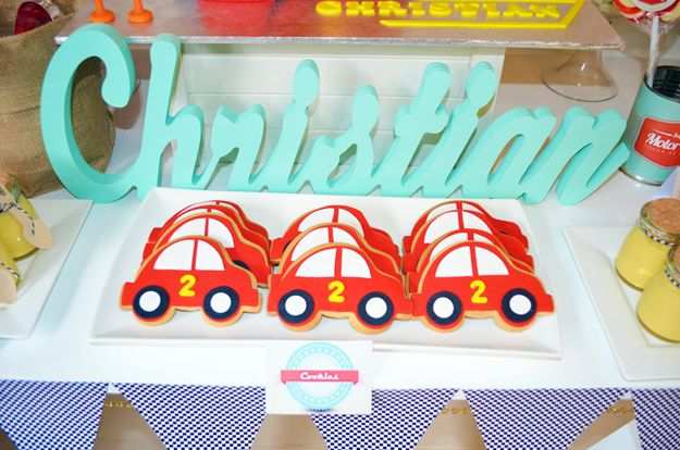 Cookies at a Race Car Party #racecar #party
