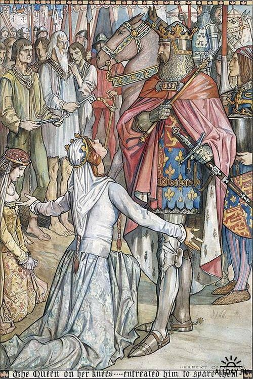 """""""The Queen on Her Knees... Entreated Him to Spare Them"""" by Herbert Cole, from The Chronicles of England"""