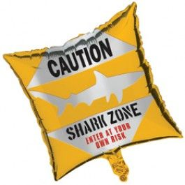 Shark Party Supplies, Shark Party Caution Balloons, Balloons