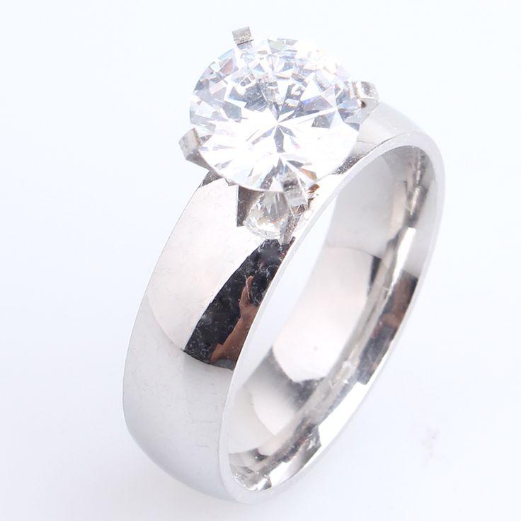 6mm glad zilver zirkoon 316L Rvs trouwringen voor mannen vrouwen groothandel