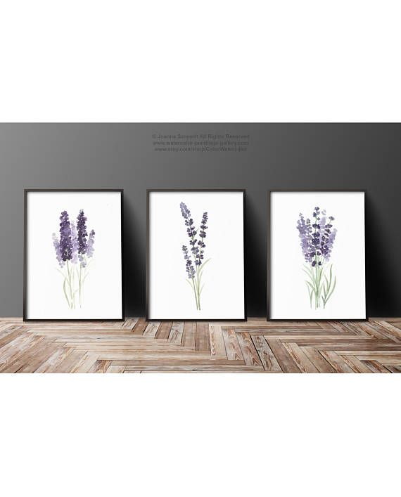 Lavender Flower Painting Canvas Botanical Print Kitchen Wall Decoration Purple And Green Set Of 3 Lavender Art Prints Minimalist Watercolour Flower Painting Canvas Wall Art Prints Living Room Flower Painting