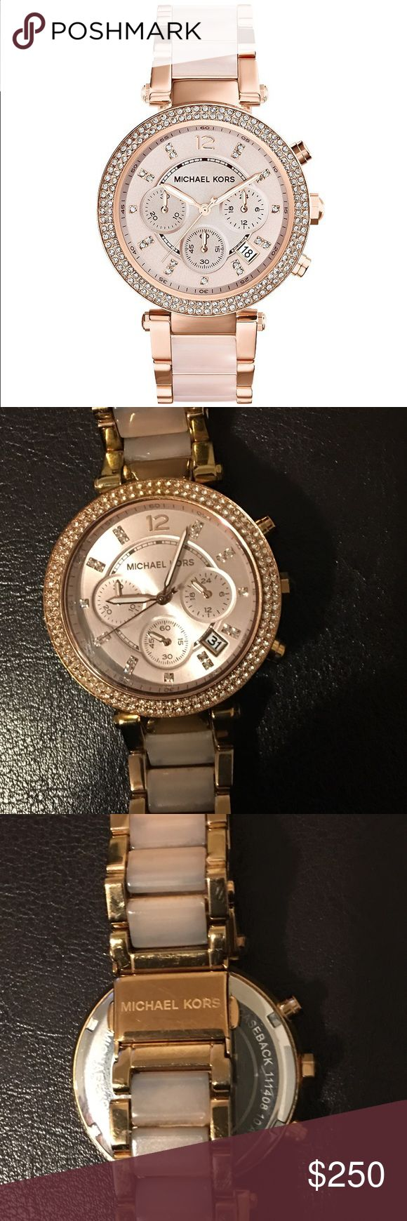 Michael Kors Parker Rose/Blush Chronograph Watch Michael Kors Parker Rose Gold Tone & Blush Chronograph Watch  watch features:  rose gold tone plated stainless steel and acetate bracelet and round case  light rose gold tone dial  double row of crystals around bezel Michael Kors Accessories Watches