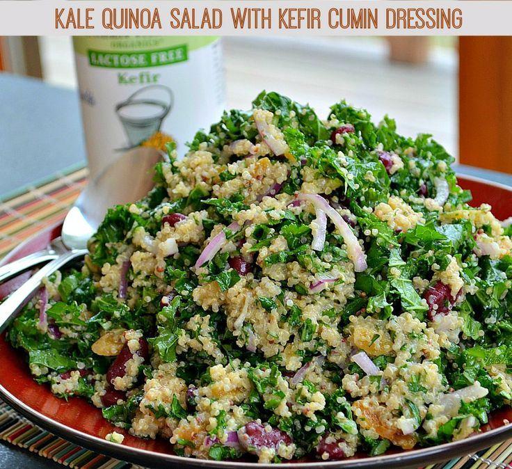 Kale quinoa salad with kefir cumin dressing recipes - Cocinar col kale ...