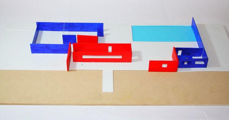 Combinación de obras. Rojo: Ville Le Lac (Le Corbusier) + Azul: Pabellón de Barcelona (Mies van der Rohe)