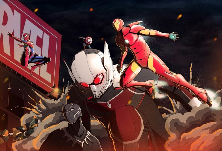 Marvel Spiderman, Ironman, Black Phanter, Antman, Captain America