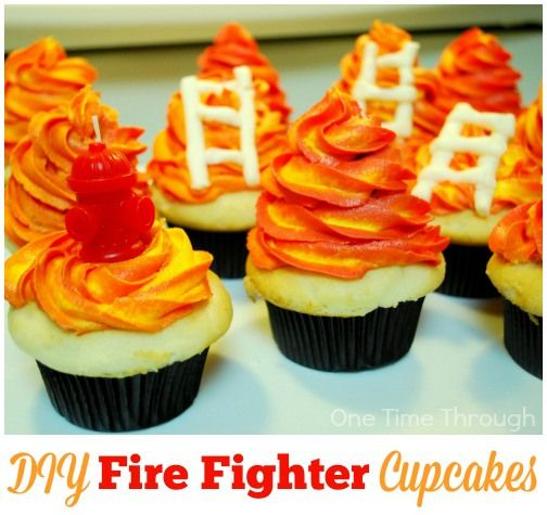 DIY Fire Fighter Cupcakes