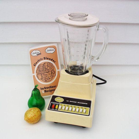 Vintage Sunbeam Blender Mixer Midcentury Kitchen by WhimzyThyme #yellow #retro #kitchen #blender #cottage #hipster #prop #reenactment