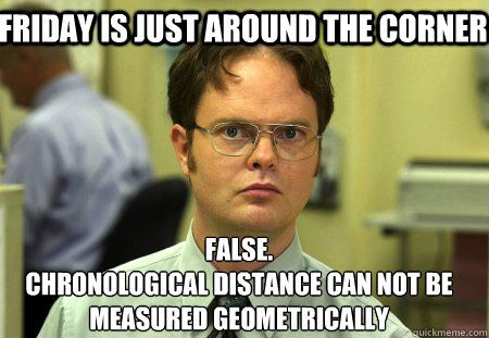Friday is just around the corner. False. Chronological distance can not be measured geometrically.