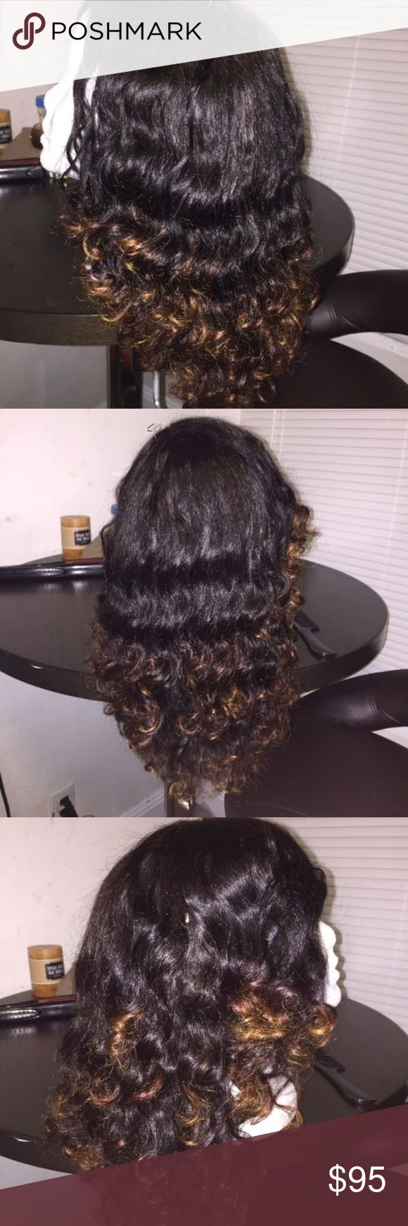 100% Human Brazilian Curly U Part Wig Beautiful Custom wig, Natural 1b color with brown ombre ends, 18in from part to ends layered, Soft natural looking curls, can dye, straighten, Was invisible part closure but I cut out to make a U Part for more natural look, pet free smoke free home , I ship same day Accessories Hair Accessories