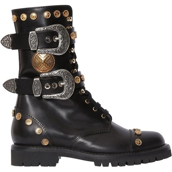 Fausto Puglisi Women 30mm Studded Leather Combat Boots (15.972.500 VND) ❤ liked on Polyvore featuring shoes, boots, black, black combat boots, black small heel boots, army boots, low-heel boots and military boots