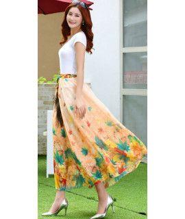 Presenting Orange And Multi Color Georgette Skirt.