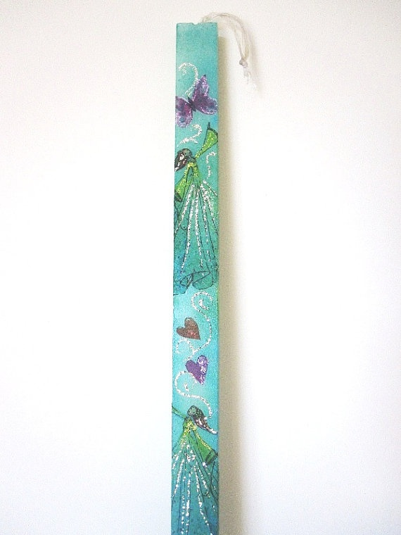 Easter candle  painted and decoupaged with fairies by RomanticMood, €13.00