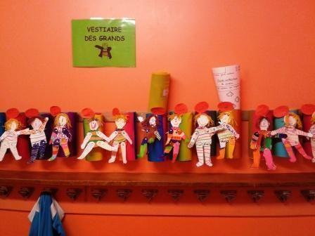 Dès la rentrée, je propose aux élèves de construire un pantin qui les représentera. Je leur donne une feuille cartonnée sur laquelle il y a les différents morceaux du corps du pantin Les enfants colorient les différentes parties du corps de leur pantin...