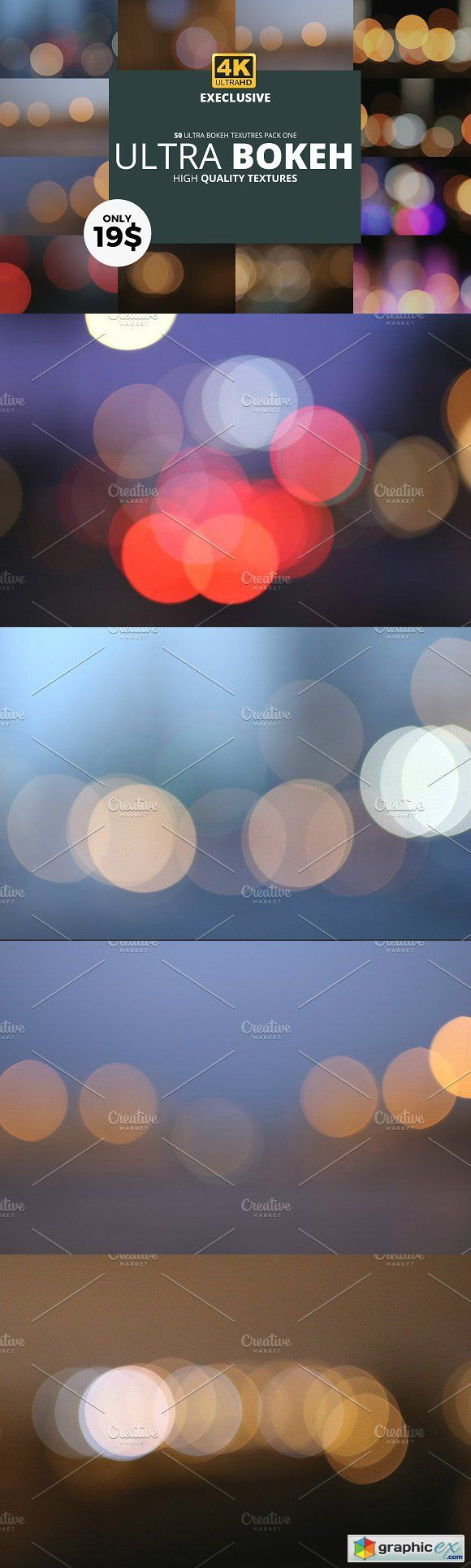50 Ultra 4K Bokeh Textures Pack One  stock images