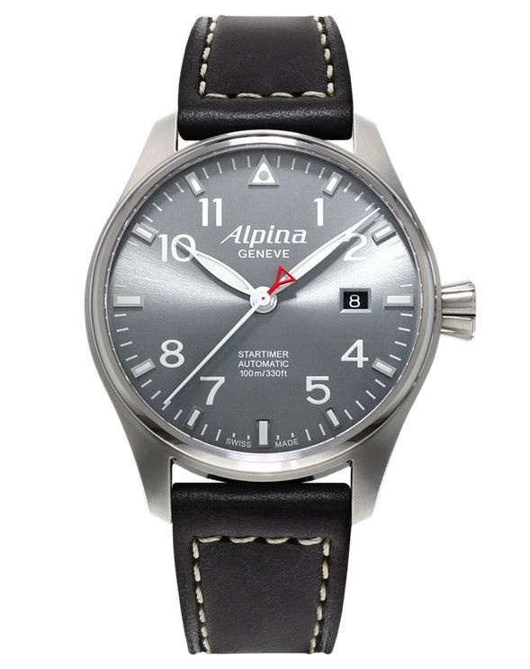 Alpina Pilot Automatic Al-525G3S6 40mm Stainless Steel Case. Automatic AL-525 movement with a power Reserve of 38 Hours. Sapphire Crystal. Screw-in Crown. Transparent Case-Back.