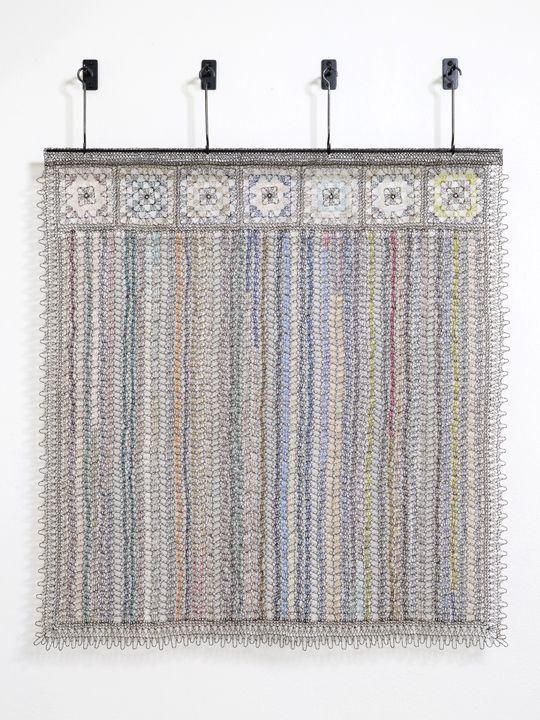 Stripes, Guate, 2015 Crocheted steel, pigment coated wire and paper thread, woven fabricated steel, patina