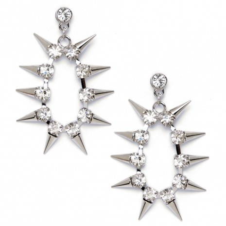 """These space-age spike earrings are next level gorge! Several silvertone spikes form a circle punctuated by a postback stud. Earrings measure 2.5"""" long and are out of this world! $14.99"""
