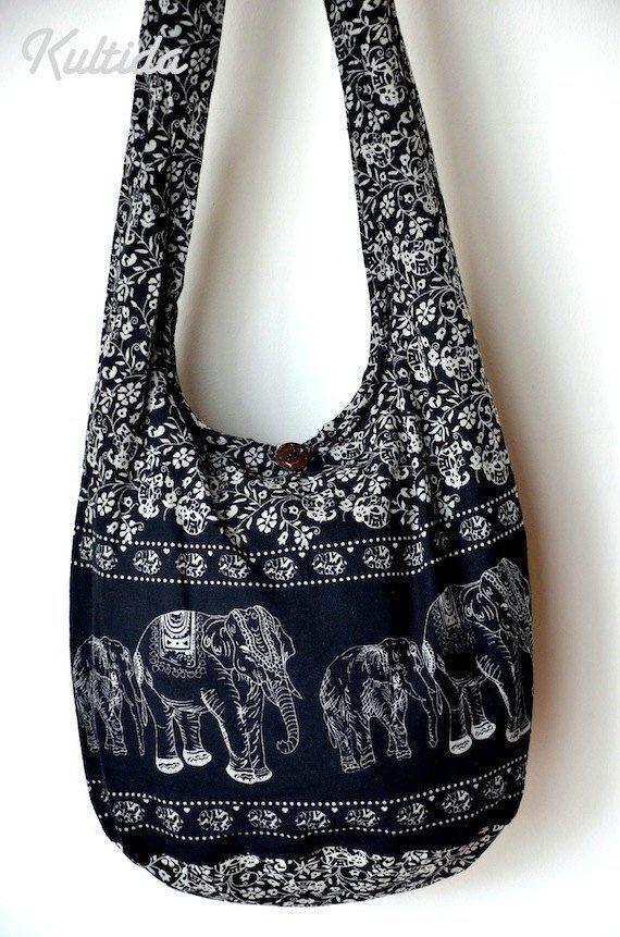 119027f0add5 Black Cotton Bag Handbags Elephant Bag Hippie Hobo Bag Boho Bag ...