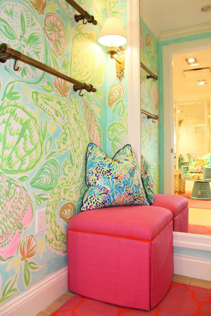 Vintage print inspired dressing room at Lilly Pulitzer Ocean Reef Club Store
